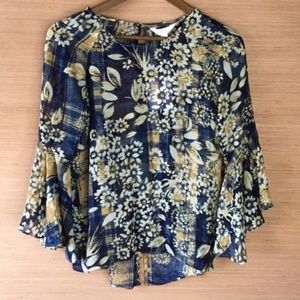 LC Lauren Conrad Bell Sleeve Tunic Top XS